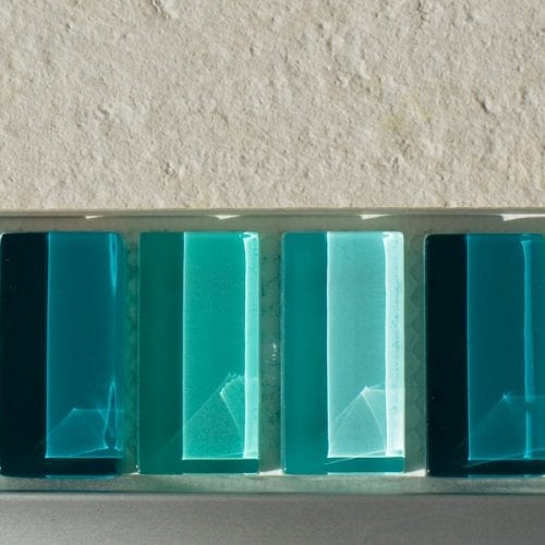 Mixed plain green glass mosaic brick tiles