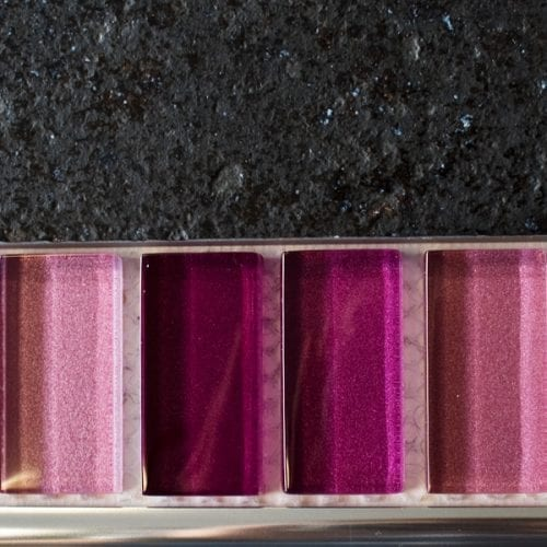 Mixed metallic plain pink glass mosaic brick tiles