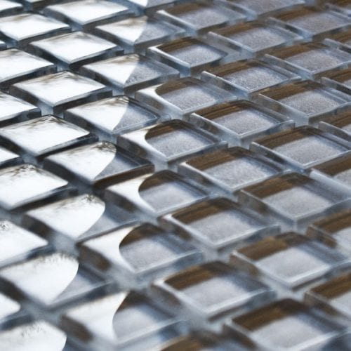Pewter glass mosaic tiles