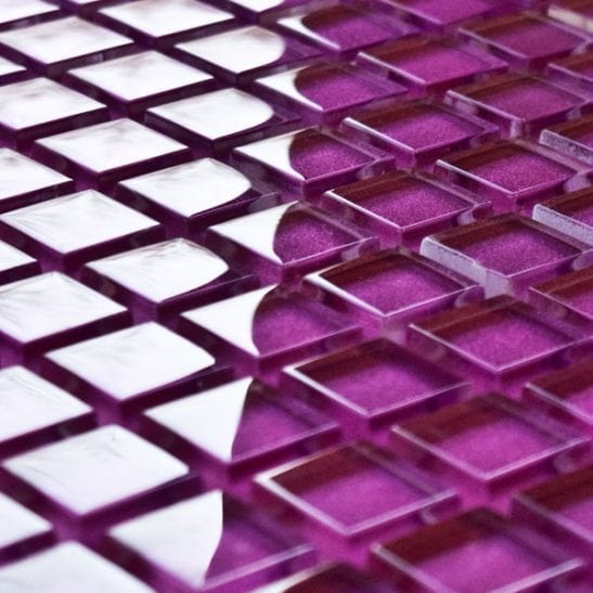 Raspberry glass mosaic tiles