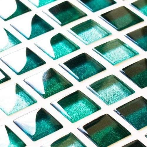 Mixed metallic green glass mosaic tiles