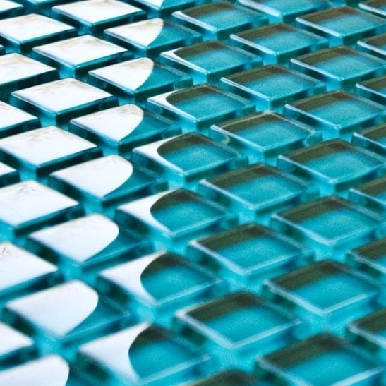 Teal glass mosaic tiles