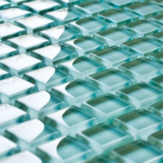 Turquoise glass mosaic tiles