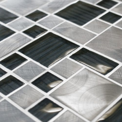 Metal work mercury metal and glass mosaic tiles