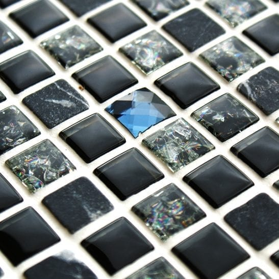 Black sparkle mosaic tiles with stone,glass and diamond cut glass.