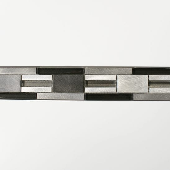 Dark grey metal, glass modular mosaic linear border tiles