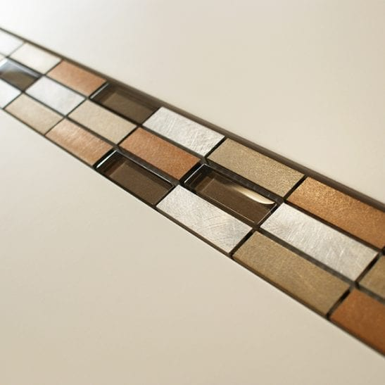 Bronze metal and glass mosaic border tiles