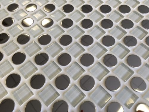 Checkers white circle and square mosaic tile