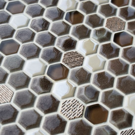 Honeycomb fawn mosaic tiles