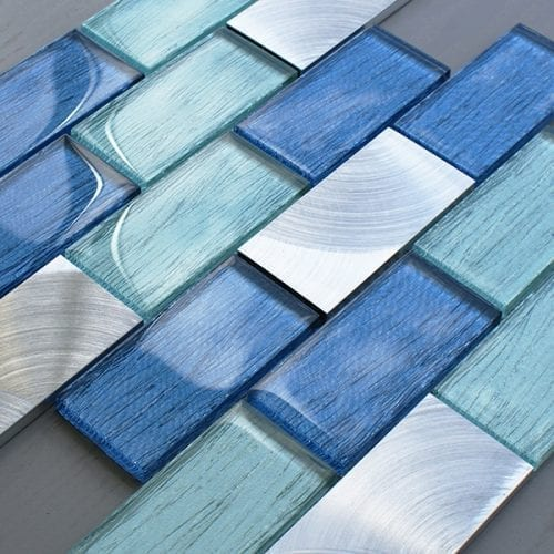 Portland blue glass brick and metal wall tiles