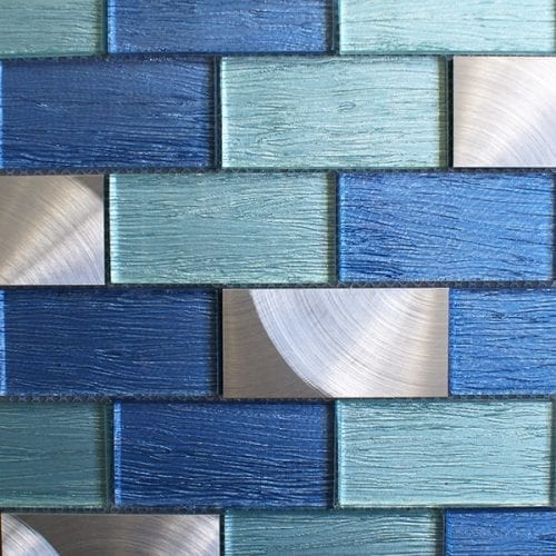 Portland glass brick and metal wall tiles