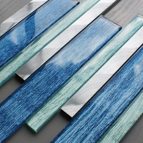 Portland blue glass linear and metal wall tiles
