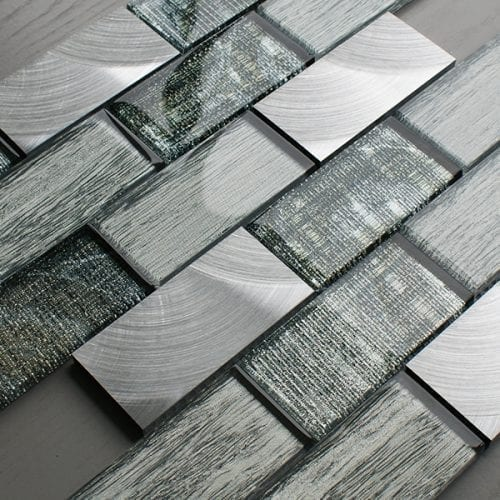 Portland green glass brick and metal wall tiles