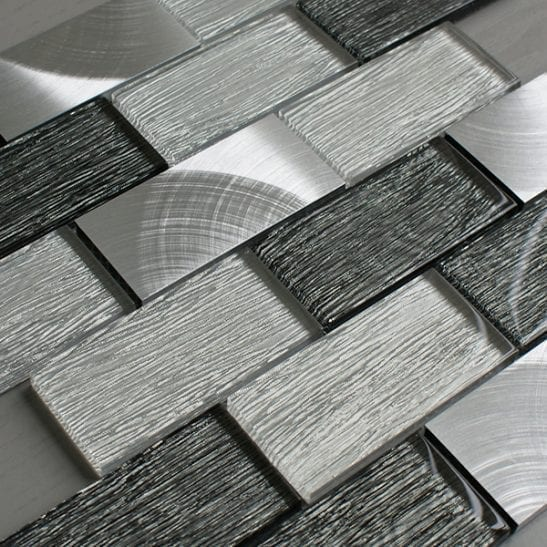 Portland grey glass brick and metal wall tiles