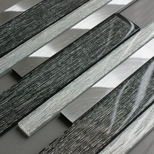 Portland grey glass linear and metal wall tiles