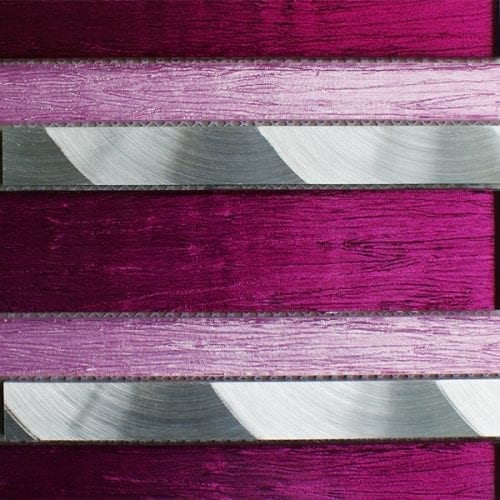 Portland pink glass linear and metal wall tiles