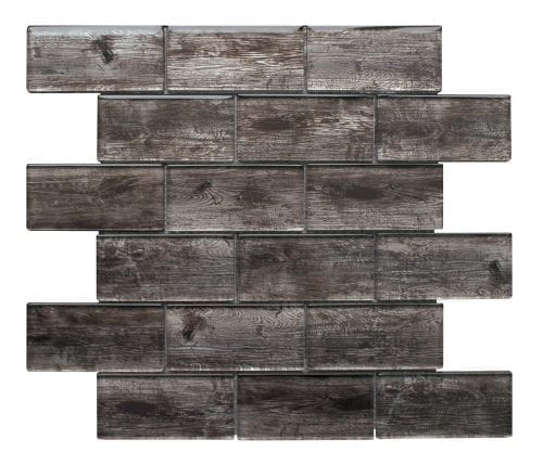 Rustica Dark Brown wood effect glass tiles