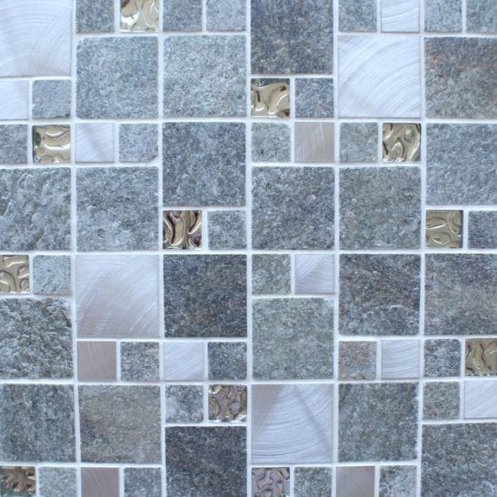 Heritage Square Grey wall and floor mosaic tiles