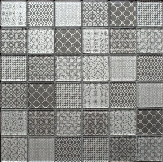 Patchwork Grey glass mosaic tiles