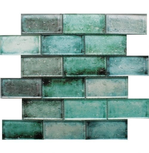 Adromeda Green Glass Brick Tiles