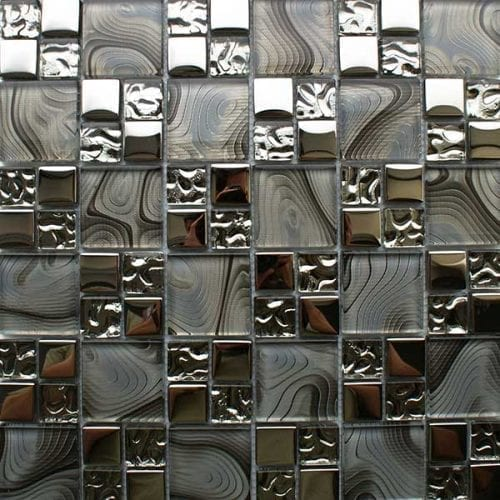 Chrome modular mosaic tiles for kitchen and bathrooms