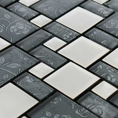 Grey glass square mosaic tiles for kitchens and bathrooms