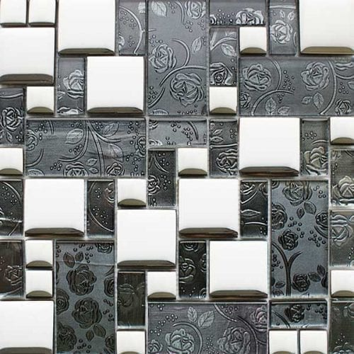 Grey glass modular mosaic tiles for kitchens and bathrooms