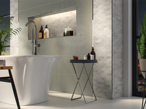 Athena Diamond Marble Effect Tiles - Bathroom