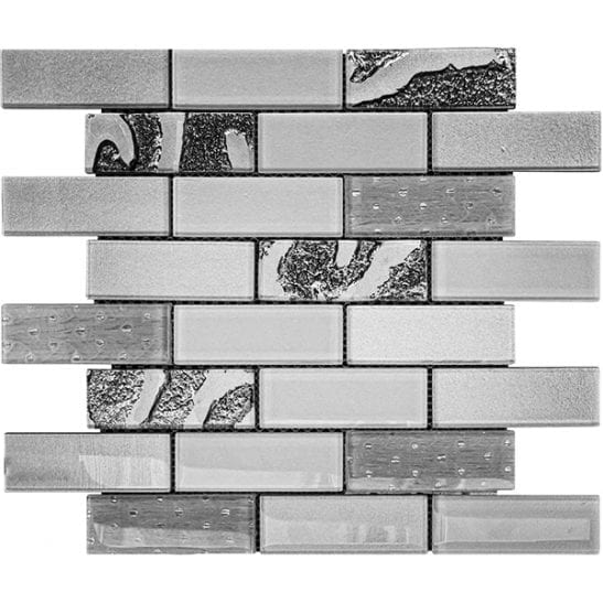 Gala silver glass brick tiles