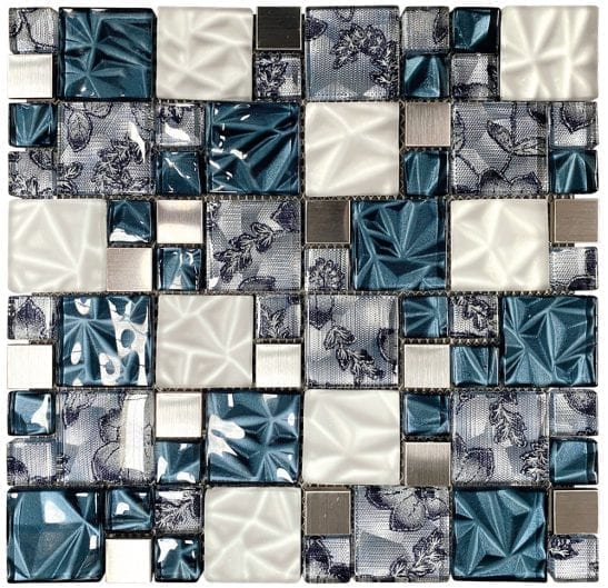 Lux Blue Square Mosaic Tiles