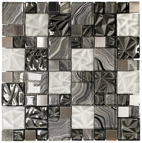 Lux Grey Square Mosaic Tiles