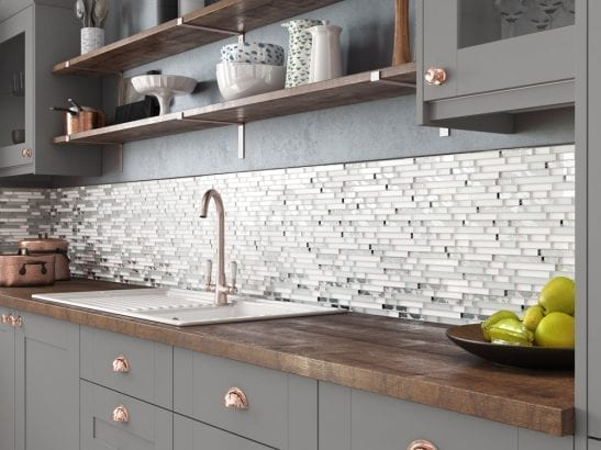 Solar White Mosaic Brick Tiles - Kitchen